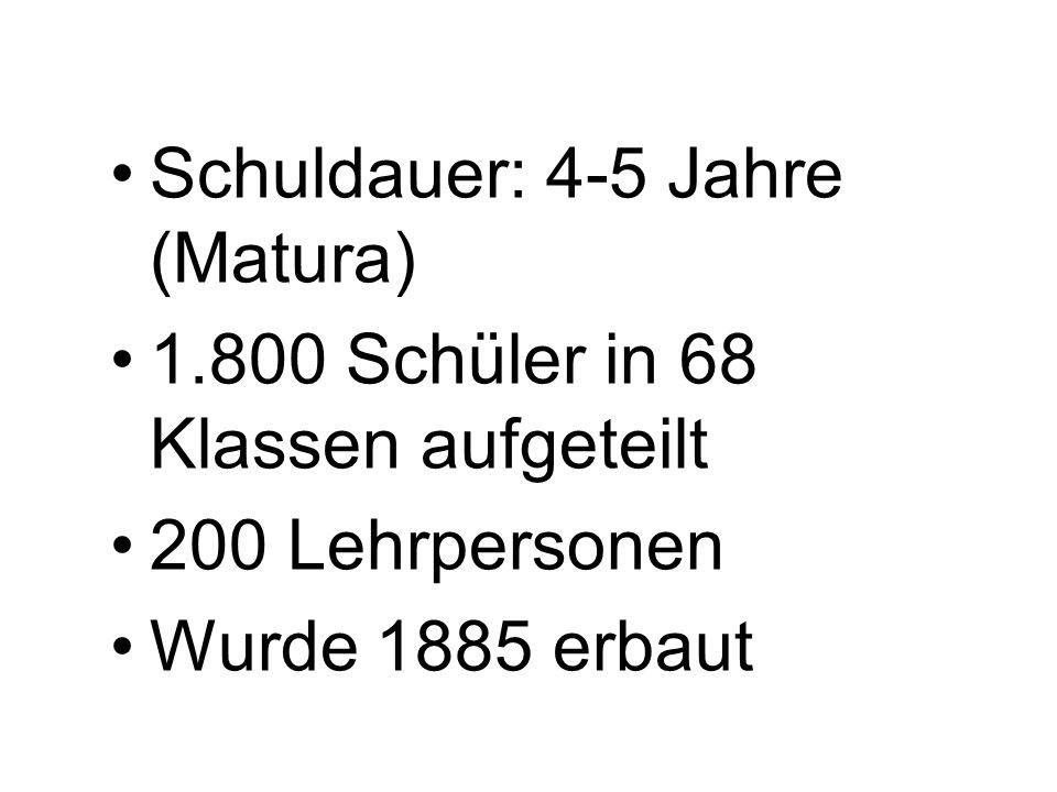 Schuldauer: 4-5 Jahre (Matura) 1.800 Schüler in 68 Klassen aufgeteilt 200 Lehrpersonen Wurde 1885 erbaut