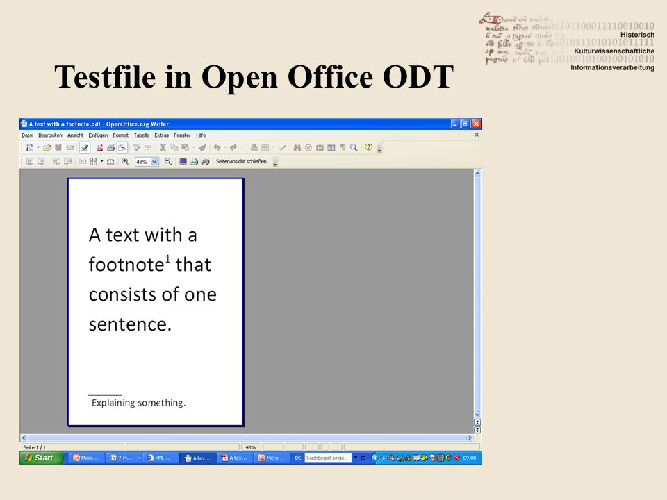 Testfile in Open Office ODT