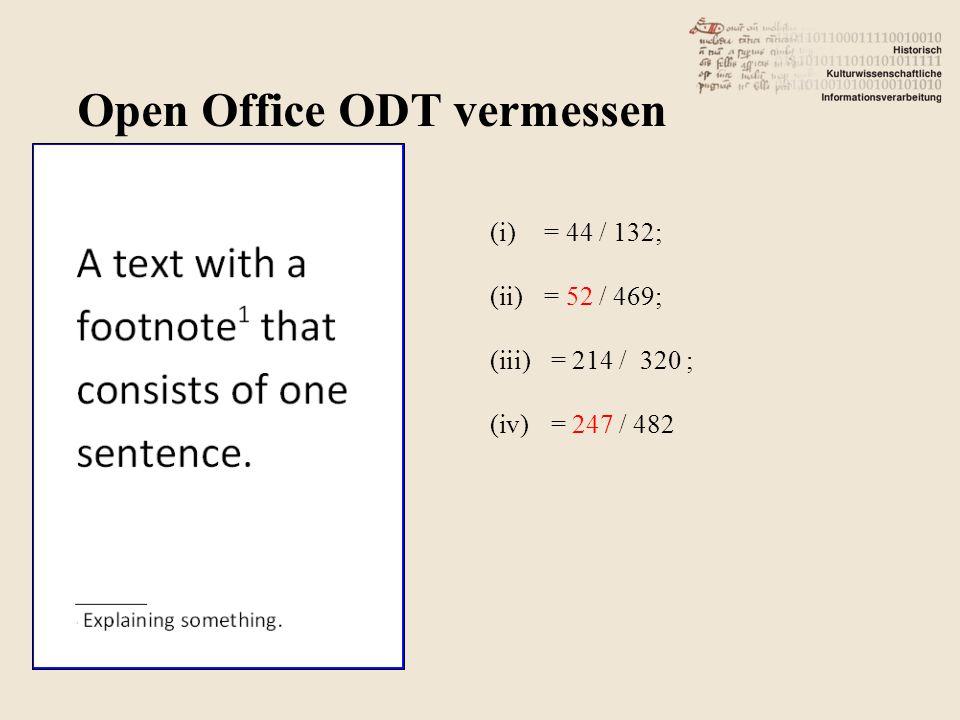 (i)= 44 / 132; (ii)= 52 / 469; (iii) = 214 / 320 ; (iv) = 247 / 482 Open Office ODT vermessen