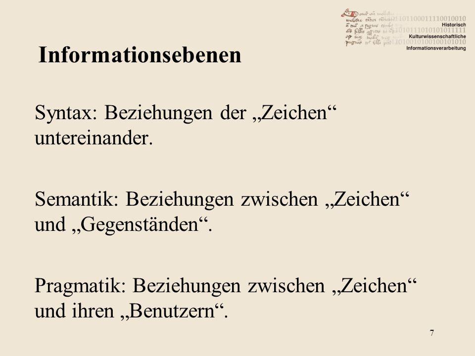 """Informationsebenen Syntax: Beziehungen der """"Zeichen untereinander."""