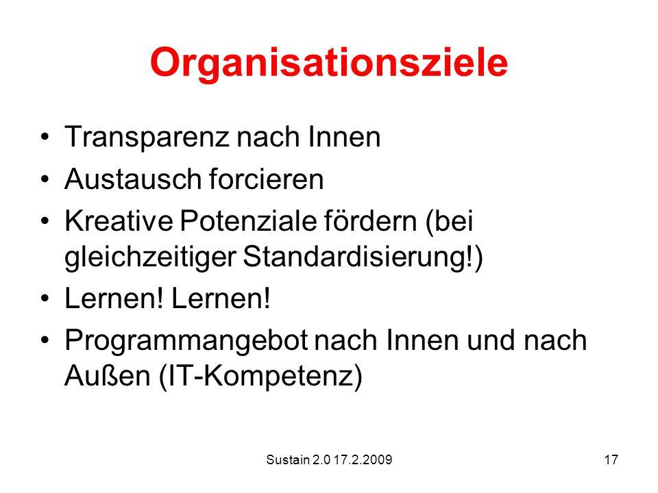 Sustain 2.0 17.2.200917 Organisationsziele Transparenz nach Innen Austausch forcieren Kreative Potenziale fördern (bei gleichzeitiger Standardisierung!) Lernen.