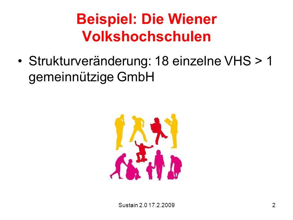Sustain 2.0 17.2.20092 Beispiel: Die Wiener Volkshochschulen Strukturveränderung: 18 einzelne VHS > 1 gemeinnützige GmbH