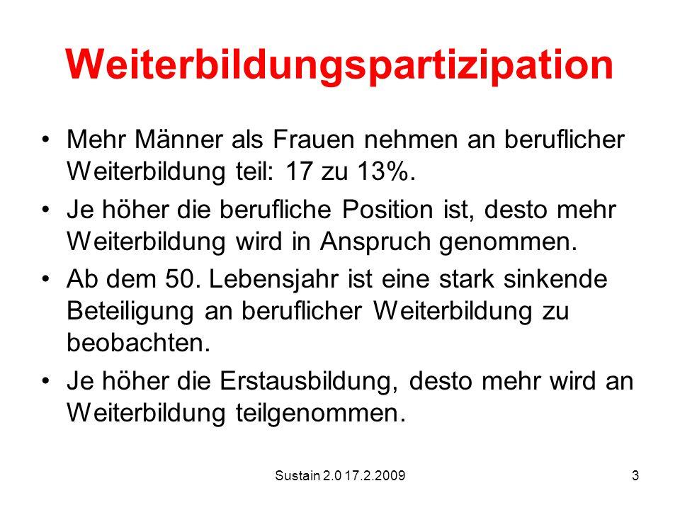 Sustain 2.0 17.2.20093 Weiterbildungspartizipation Mehr Männer als Frauen nehmen an beruflicher Weiterbildung teil: 17 zu 13%.