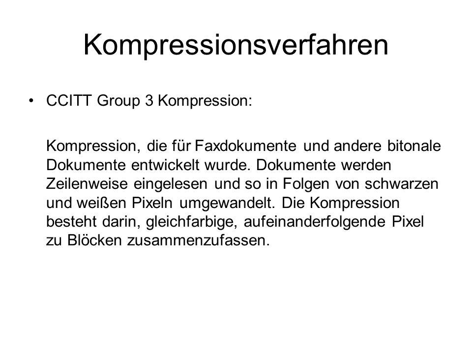 Kompressionsverfahren Weitere Ansätze beziehen sich auf die Annahme, dass aufeinander folgende Zeilen ähnlich sind, sowie auf standardisierte Schriften und somit standardisierte Schwarz/Weiß-Folgen, die durch gesondert repräsentiert werden.
