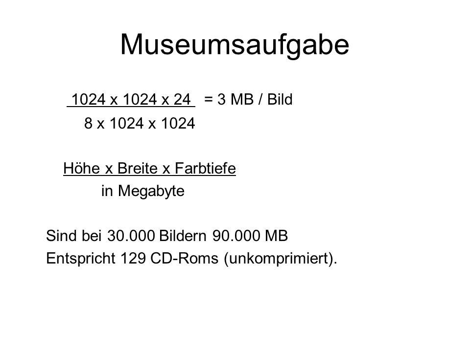 Museumsaufgabe 1024 x 1024 x 24 = 3 MB / Bild 8 x 1024 x 1024 Höhe x Breite x Farbtiefe in Megabyte Sind bei 30.000 Bildern 90.000 MB Entspricht 129 CD-Roms (unkomprimiert).