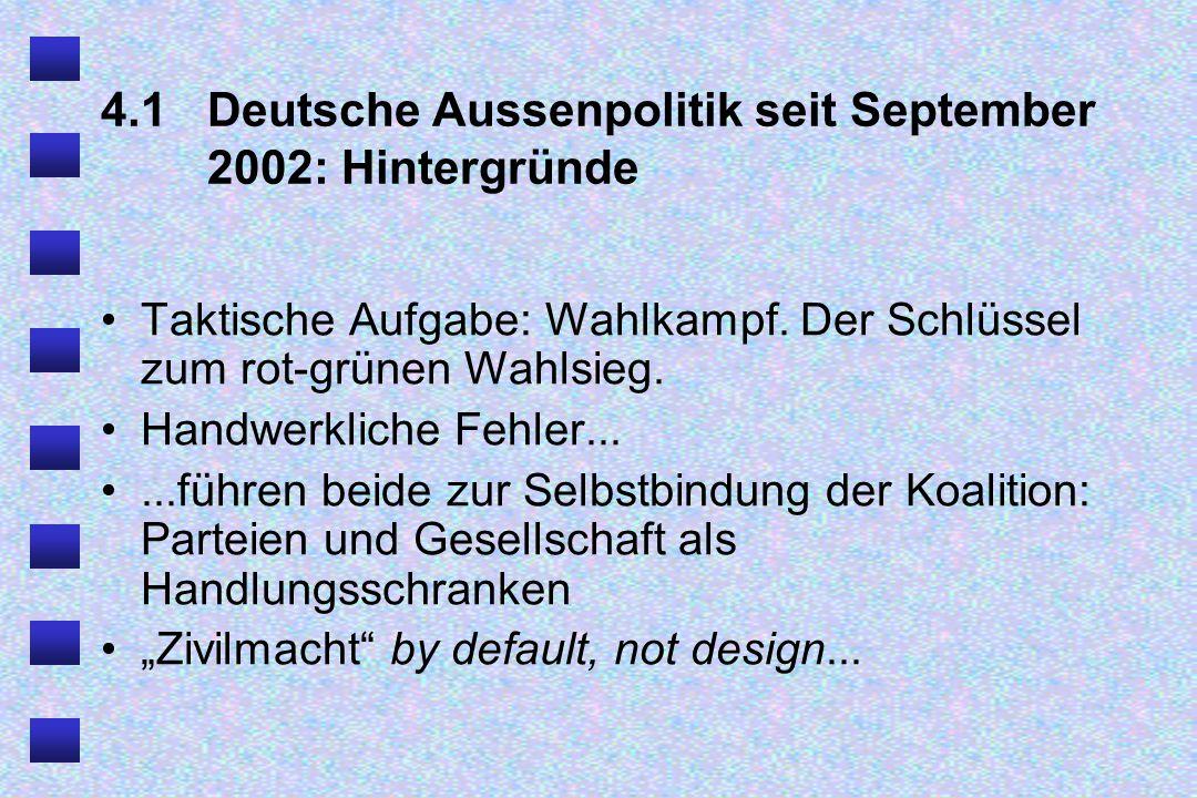 4.1 Deutsche Aussenpolitik seit September 2002: Hintergründe Taktische Aufgabe: Wahlkampf.