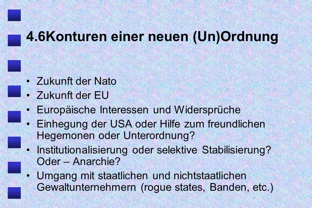 4.6Konturen einer neuen (Un)Ordnung Zukunft der Nato Zukunft der EU Europäische Interessen und Widersprüche Einhegung der USA oder Hilfe zum freundlichen Hegemonen oder Unterordnung.
