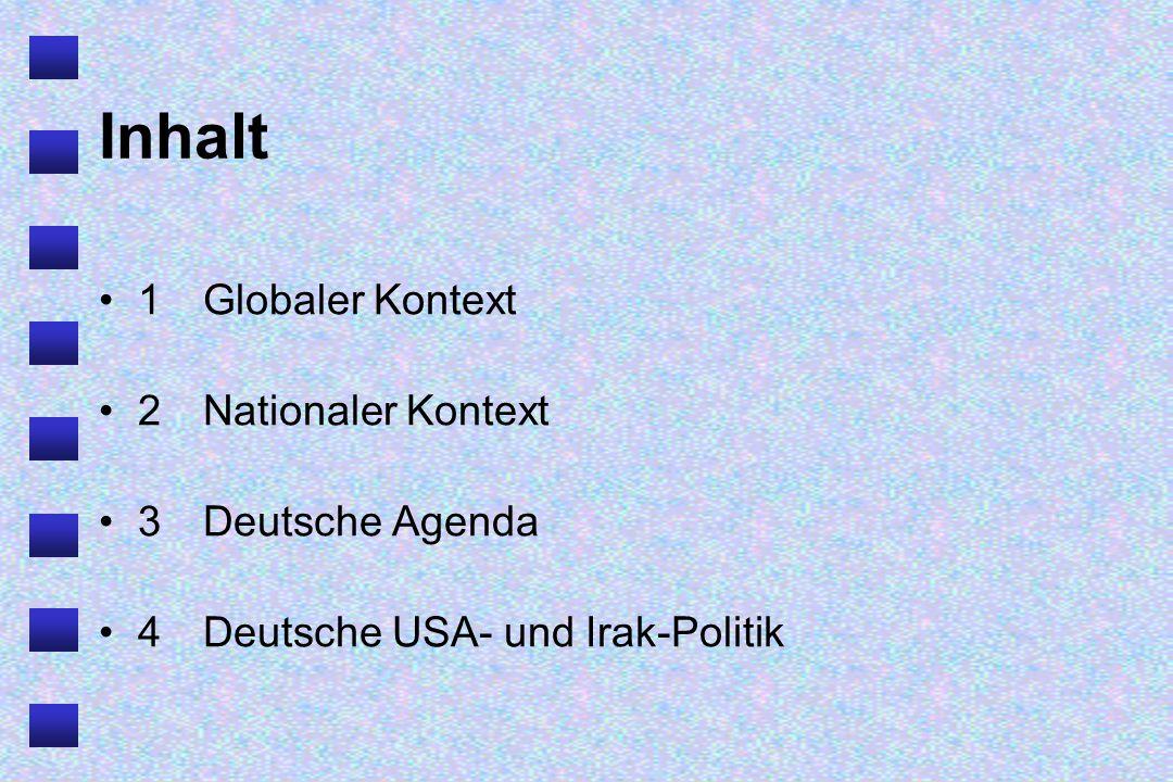 Inhalt 1Globaler Kontext 2Nationaler Kontext 3Deutsche Agenda 4Deutsche USA- und Irak-Politik