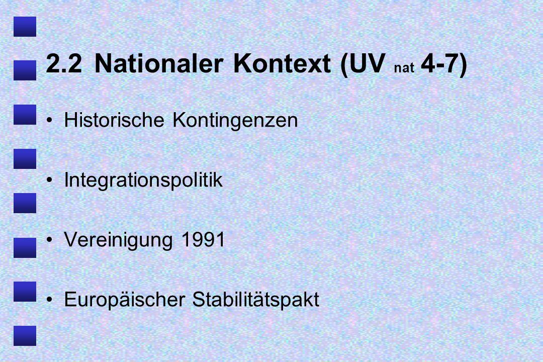 2.3 Nationaler Kontext (UV nat 7-9) Europäische Integration Normalisierung deutscher Politik Gesellschaftliche Dimension