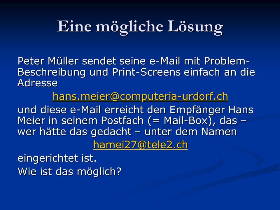 Eine mögliche Lösung Peter Müller sendet seine e-Mail mit Problem- Beschreibung und Print-Screens einfach an die Adresse hans.meier@computeria-urdorf.