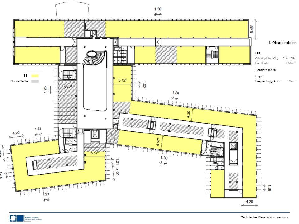 4. Obergeschoss ISB Arbeitsplätze (AP): 105 - 107 Bürofläche: 1265 m² Sonderflächen Lager/ Besprechung/ ASF: 375 m² Technisches Dienstleistungszentrum