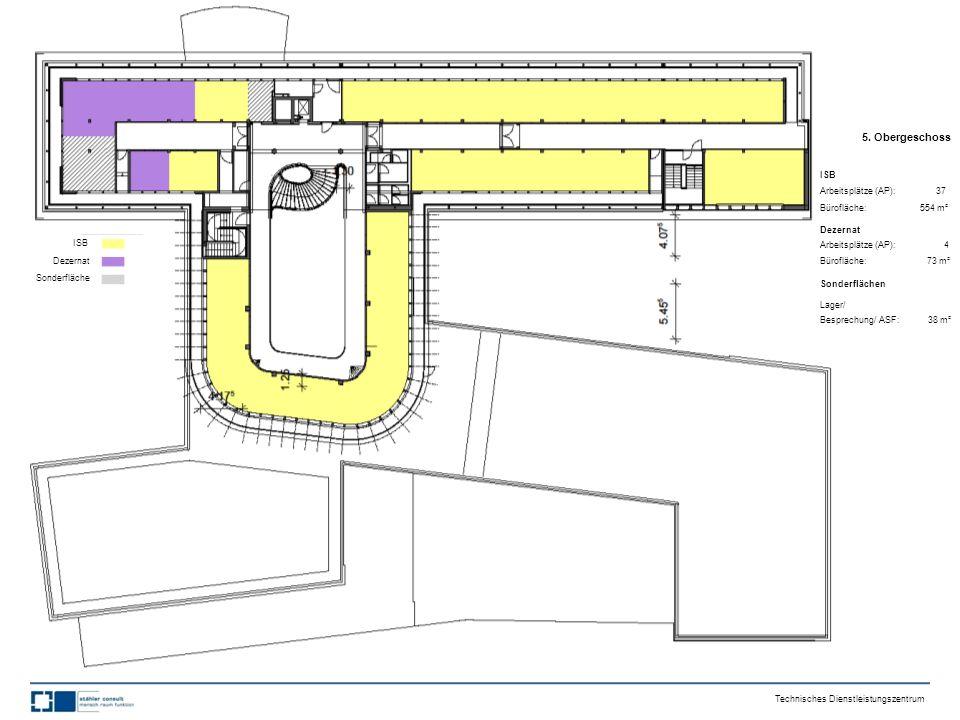 5. Obergeschoss ISB Arbeitsplätze (AP): 37 Bürofläche: 554 m² Dezernat Arbeitsplätze (AP): 4 Bürofläche: 73 m² Sonderflächen Lager/ Besprechung/ ASF:
