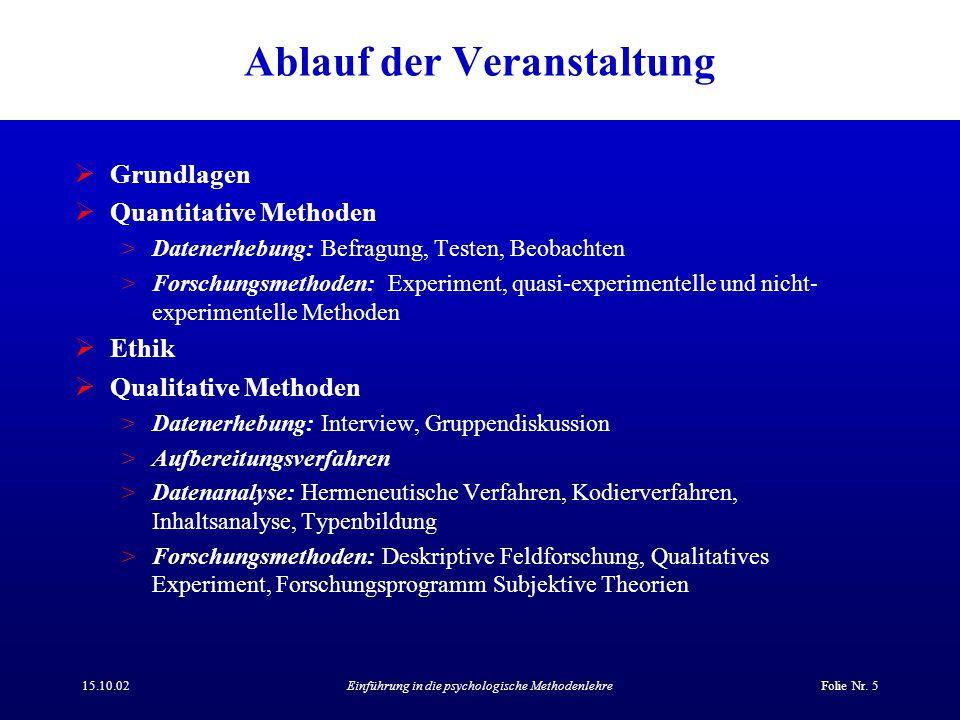 15.10.02Einführung in die psychologische MethodenlehreFolie Nr. 5 Ablauf der Veranstaltung  Grundlagen  Quantitative Methoden >Datenerhebung: Befrag