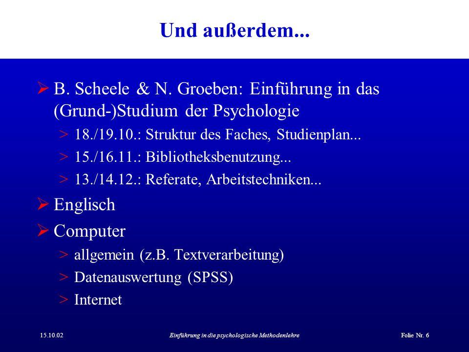 15.10.02Einführung in die psychologische MethodenlehreFolie Nr. 6 Und außerdem...  B. Scheele & N. Groeben: Einführung in das (Grund-)Studium der Psy