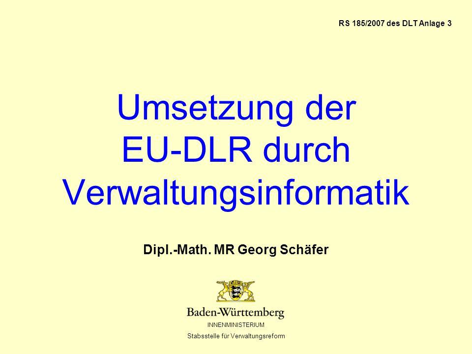 INNENMINISTERIUM Stabsstelle für Verwaltungsreform Inhalt E-Gov-Modell der EU-DLR Dokumentensafe Vorgangsbearbeitung mit inhomogenen Partnern Standard-Prozess-Modell zur Umsetzung der EU-DLR Fragen über Fragen