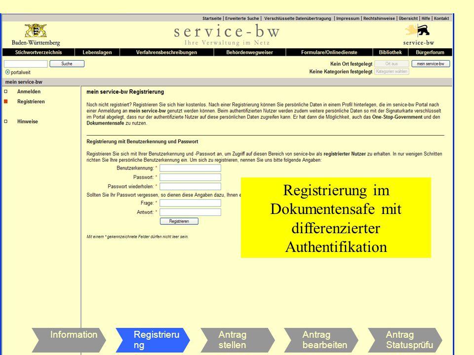 INNENMINISTERIUM Stabsstelle für Verwaltungsreform InformationRegistrieru ng Antrag stellen Antrag bearbeiten Antrag Statusprüfu ng Registrierung im Dokumentensafe mit differenzierter Authentifikation
