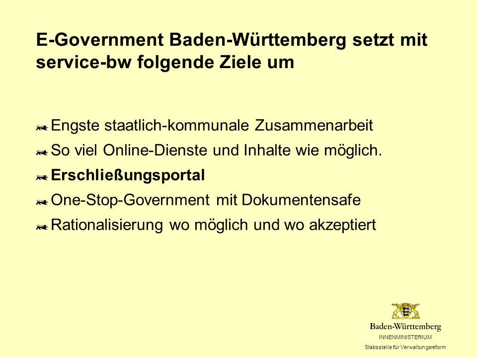 INNENMINISTERIUM Stabsstelle für Verwaltungsreform E-Government Baden-Württemberg setzt mit service-bw folgende Ziele um Engste staatlich-kommunale Zusammenarbeit So viel Online-Dienste und Inhalte wie möglich.