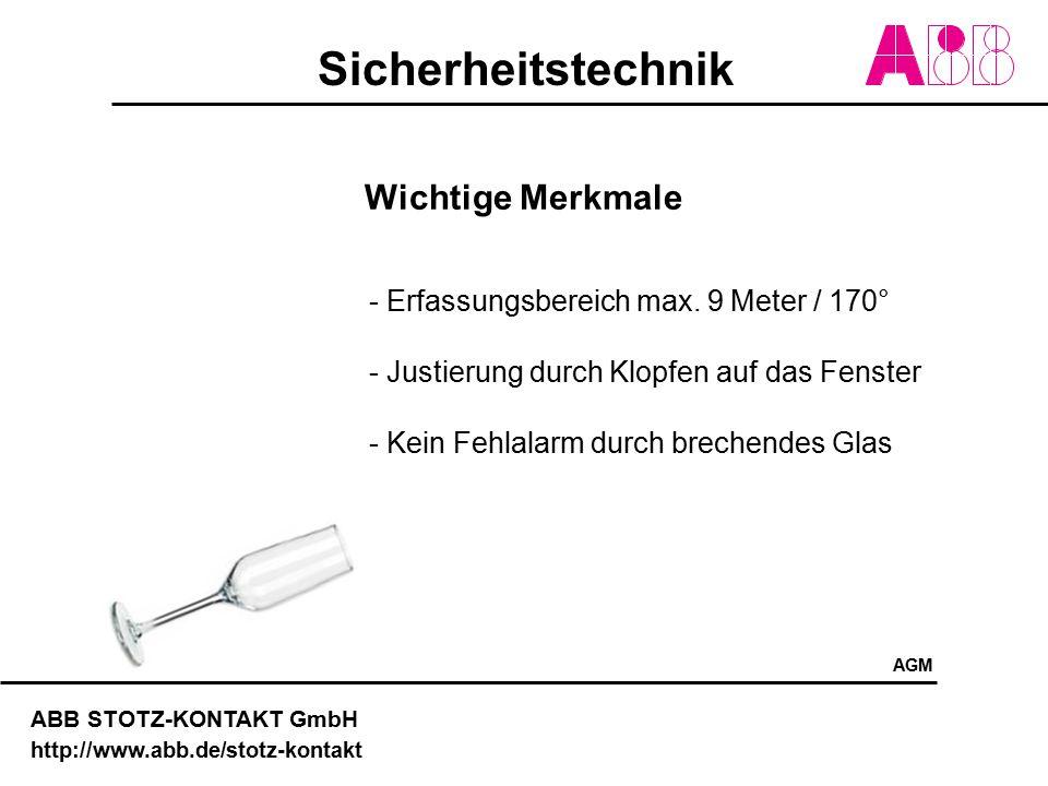 Sicherheitstechnik ABB STOTZ-KONTAKT GmbH http://www.abb.de/stotz-kontakt Wichtige Merkmale - Erfassungsbereich max. 9 Meter / 170° - Justierung durch