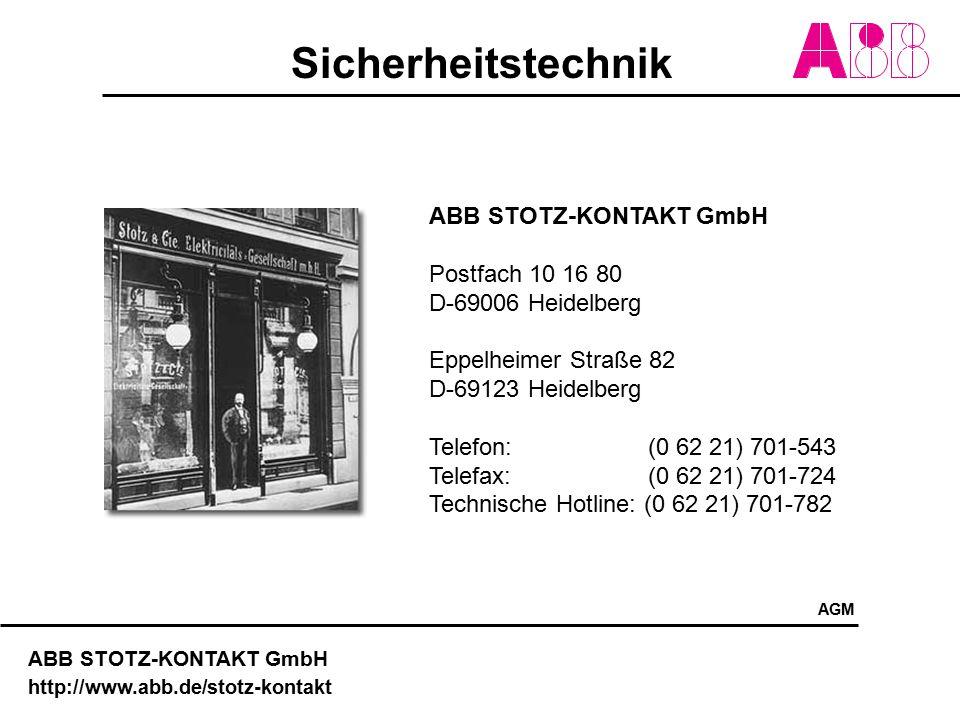 Sicherheitstechnik ABB STOTZ-KONTAKT GmbH http://www.abb.de/stotz-kontakt ABB STOTZ-KONTAKT GmbH Postfach 10 16 80 D-69006 Heidelberg Eppelheimer Stra