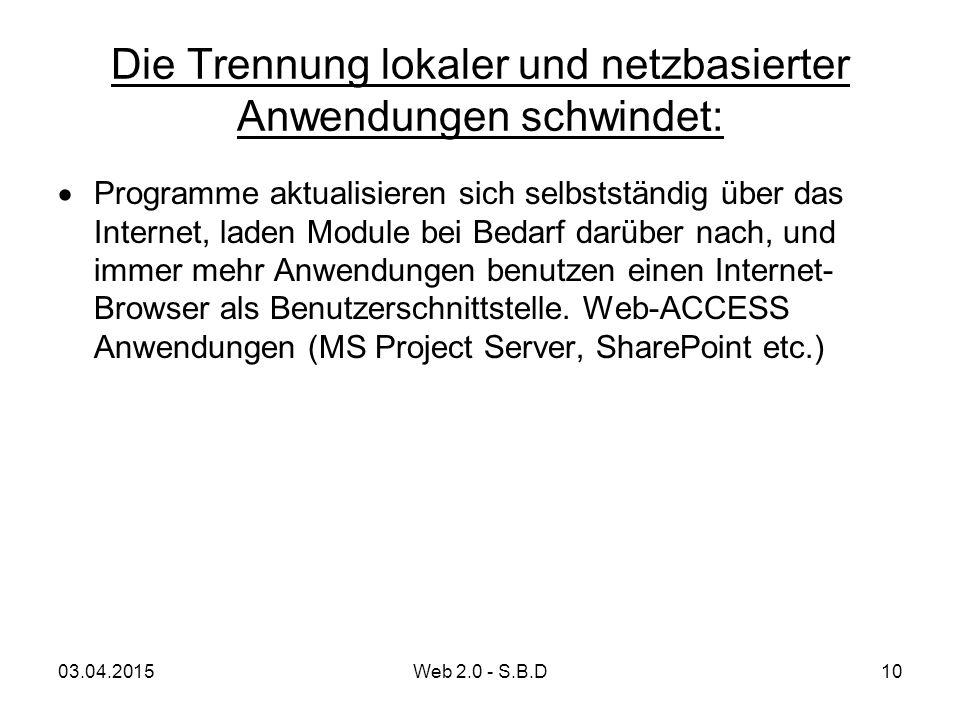 Die Trennung lokaler und netzbasierter Anwendungen schwindet:  Programme aktualisieren sich selbstständig über das Internet, laden Module bei Bedarf