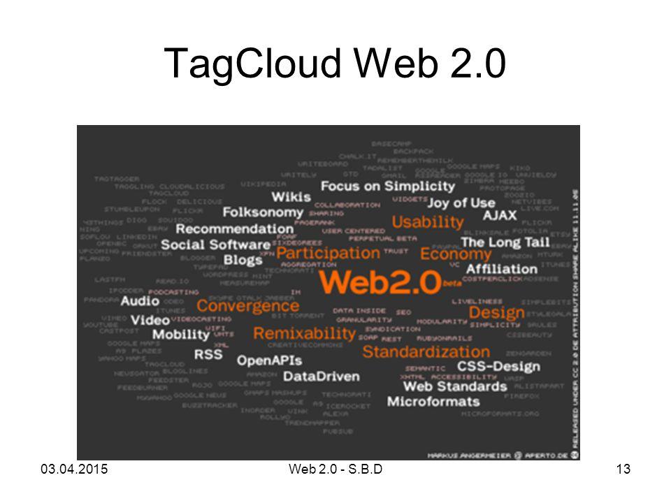 TagCloud Web 2.0 03.04.201513Web 2.0 - S.B.D
