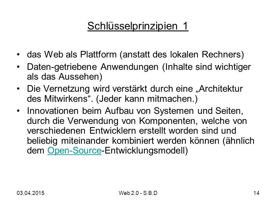 Schlüsselprinzipien 1 das Web als Plattform (anstatt des lokalen Rechners) Daten-getriebene Anwendungen (Inhalte sind wichtiger als das Aussehen) Die