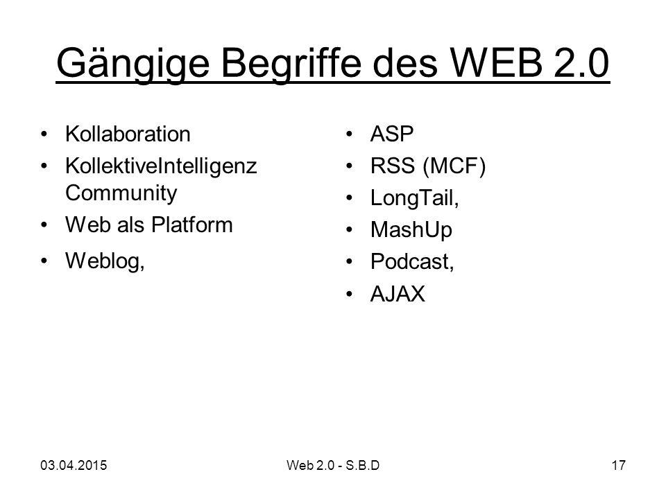 Gängige Begriffe des WEB 2.0 Kollaboration KollektiveIntelligenz Community Web als Platform Weblog, ASP RSS (MCF) LongTail, MashUp Podcast, AJAX 03.04