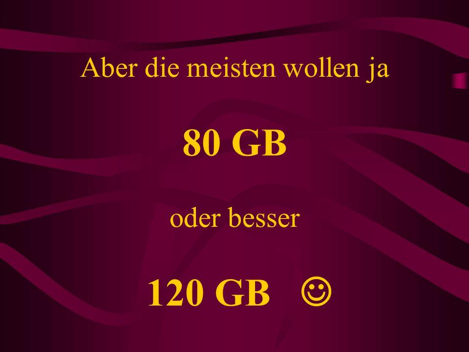 Aber die meisten wollen ja 80 GB oder besser 120 GB