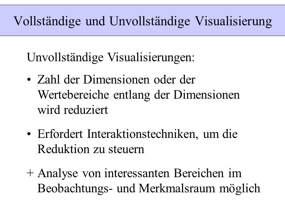 Unvollständige Visualisierungen: Zahl der Dimensionen oder der Wertebereiche entlang der Dimensionen wird reduziert Erfordert Interaktionstechniken, u