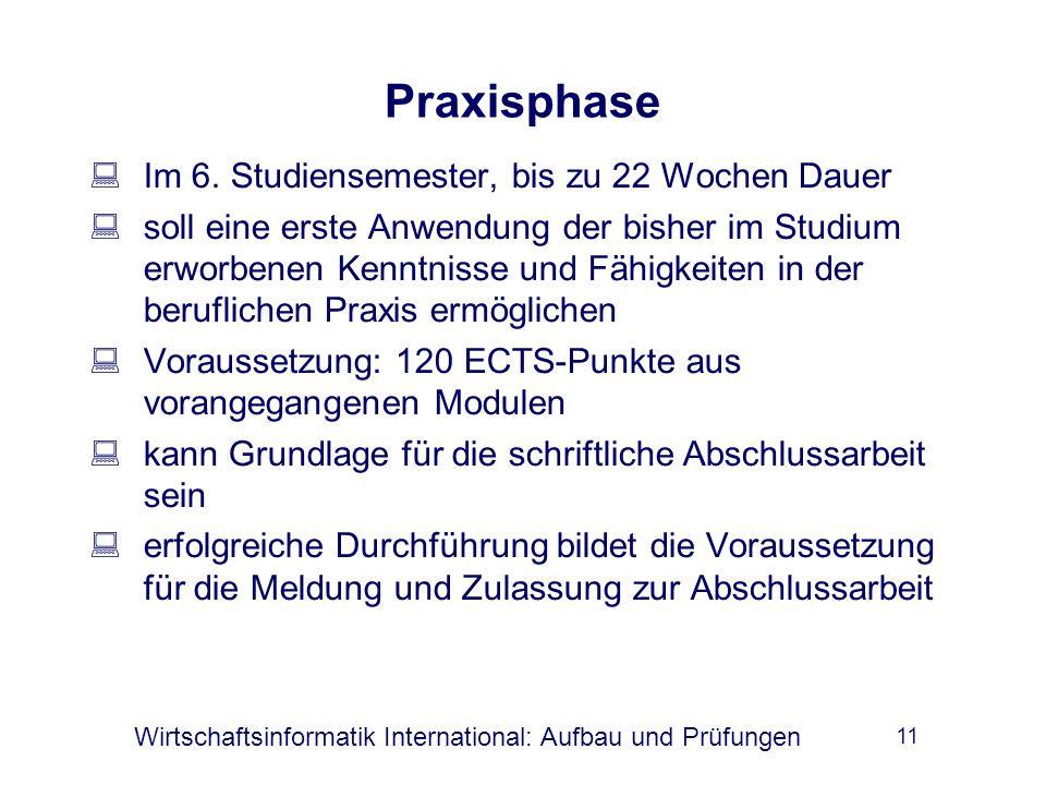Wirtschaftsinformatik International: Aufbau und Prüfungen 11 Praxisphase  Im 6.
