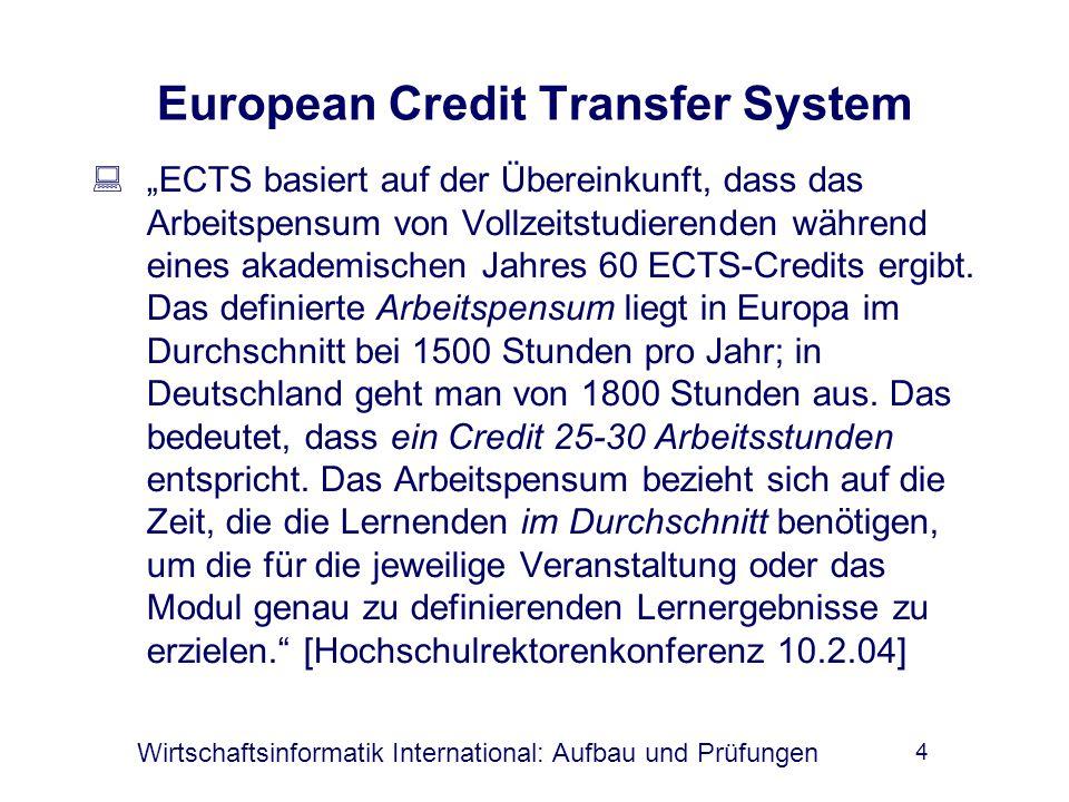 """Wirtschaftsinformatik International: Aufbau und Prüfungen 4 European Credit Transfer System  """"ECTS basiert auf der Übereinkunft, dass das Arbeitspensum von Vollzeitstudierenden während eines akademischen Jahres 60 ECTS-Credits ergibt."""