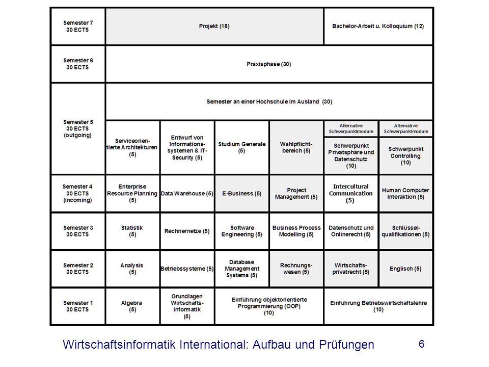 Wirtschaftsinformatik International: Aufbau und Prüfungen 6