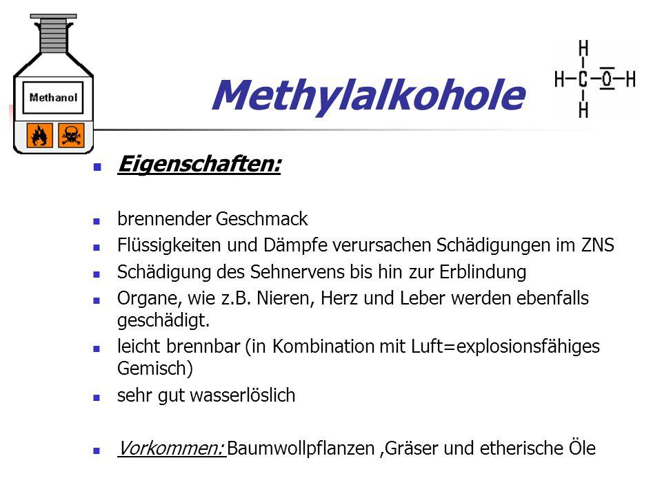 Methylalkohole Eigenschaften: brennender Geschmack Flüssigkeiten und Dämpfe verursachen Schädigungen im ZNS Schädigung des Sehnervens bis hin zur Erblindung Organe, wie z.B.
