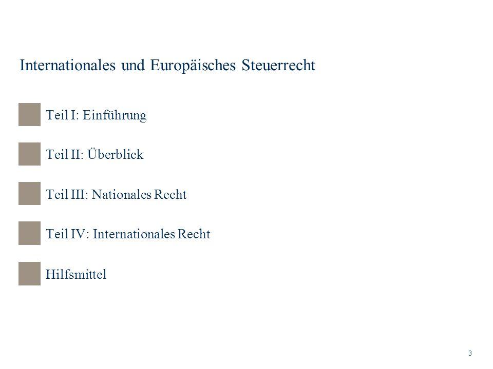 Internationales und Europäisches Steuerrecht 3 Teil II: Überblick Teil III: Nationales Recht Teil IV: Internationales Recht Teil I: Einführung Hilfsmi