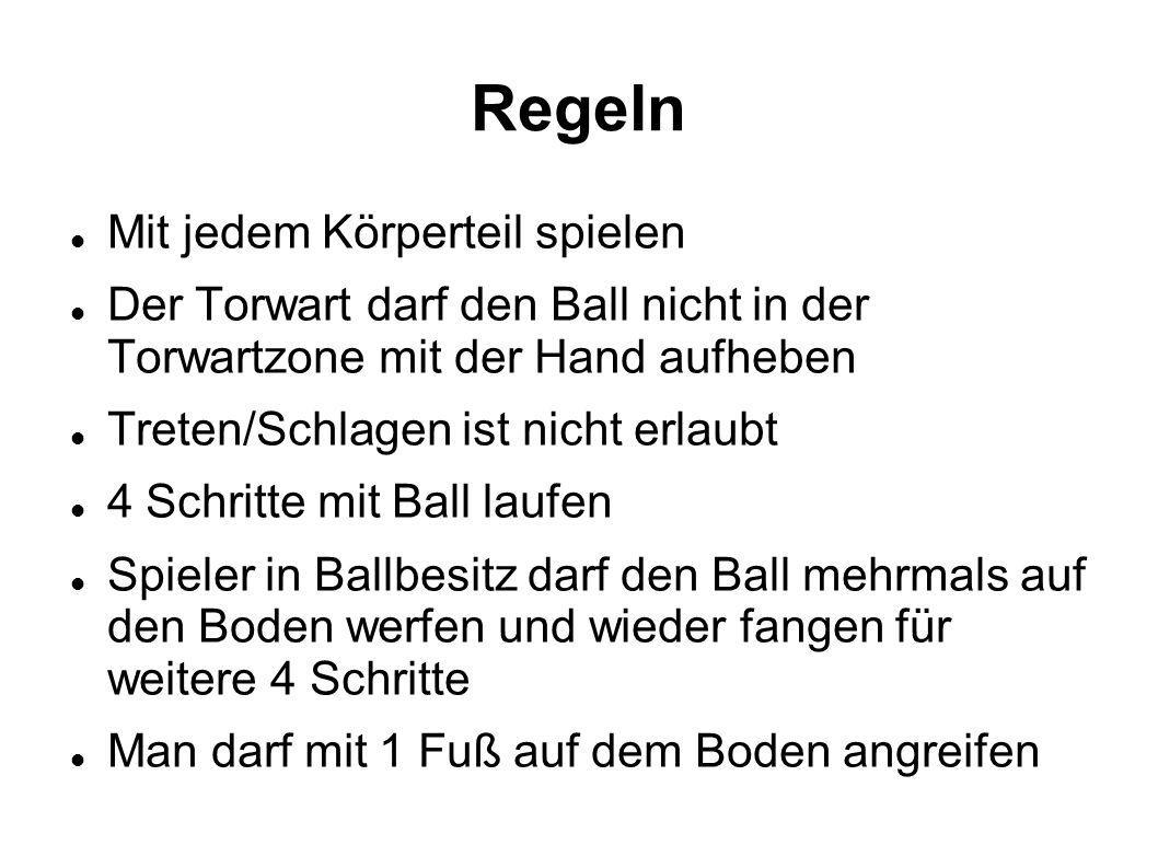 Regeln Mit jedem Körperteil spielen Der Torwart darf den Ball nicht in der Torwartzone mit der Hand aufheben Treten/Schlagen ist nicht erlaubt 4 Schri