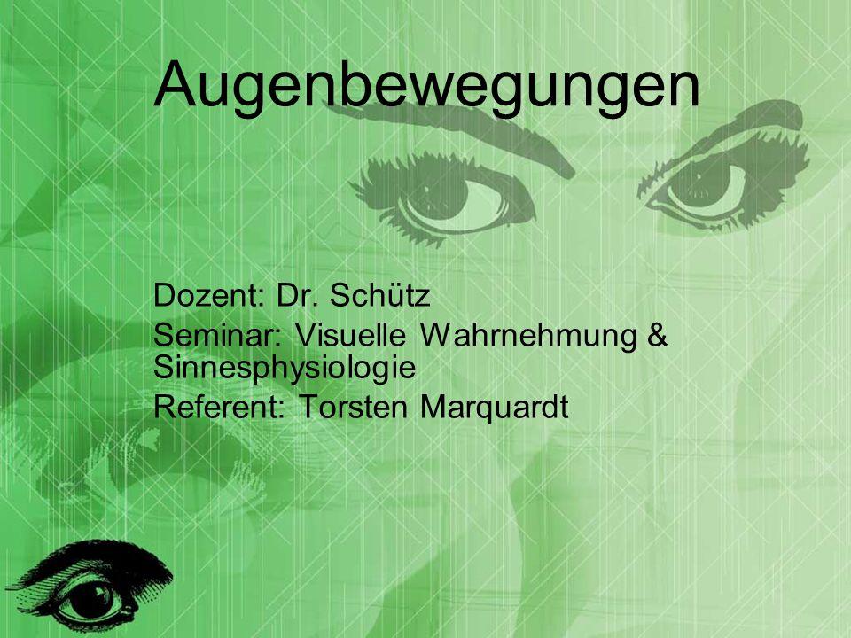 Augenbewegungen Dozent: Dr. Schütz Seminar: Visuelle Wahrnehmung & Sinnesphysiologie Referent: Torsten Marquardt