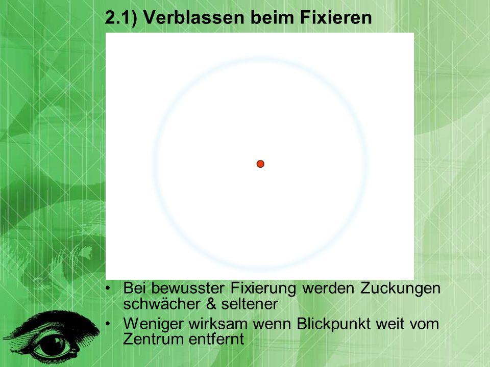 2.1) Verblassen beim Fixieren Bei bewusster Fixierung werden Zuckungen schwächer & seltener Weniger wirksam wenn Blickpunkt weit vom Zentrum entfernt
