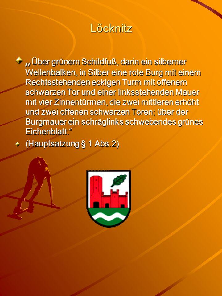 """Löcknitz """" Über grünem Schildfuß, darin ein silberner Wellenbalken, in Silber eine rote Burg mit einem Rechtsstehenden eckigen Turm mit offenem schwar"""