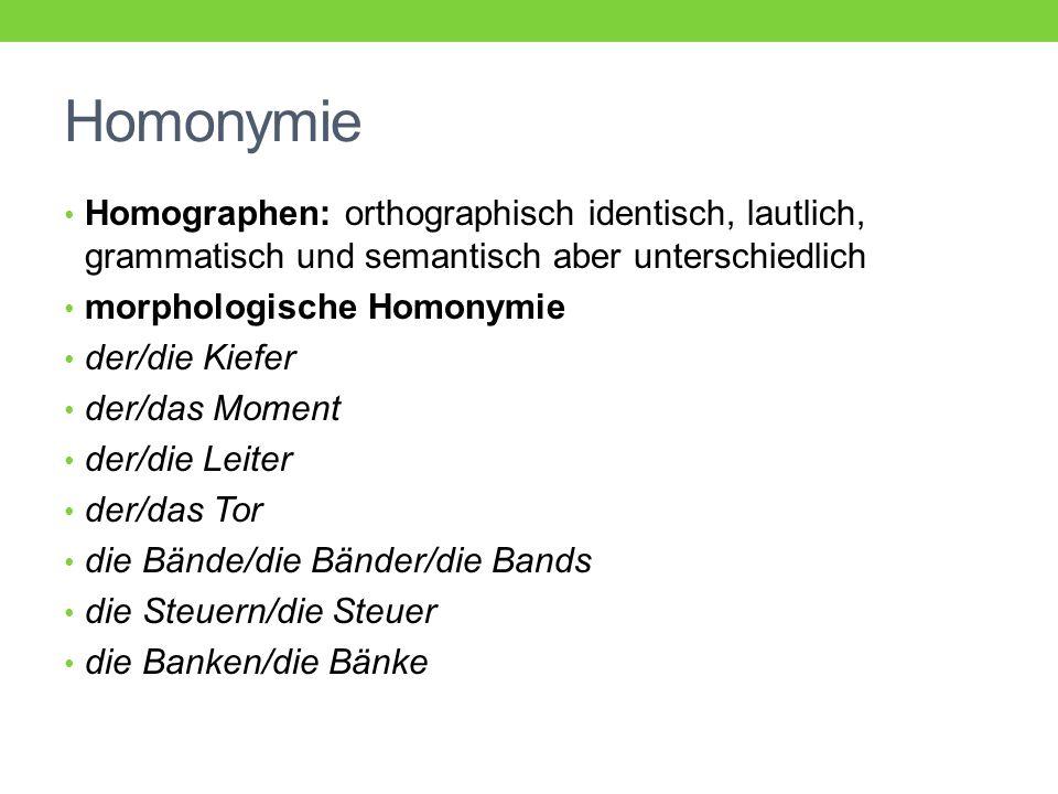 Homonymie Homographen: orthographisch identisch, lautlich, grammatisch und semantisch aber unterschiedlich morphologische Homonymie der/die Kiefer der/das Moment der/die Leiter der/das Tor die Bände/die Bänder/die Bands die Steuern/die Steuer die Banken/die Bänke
