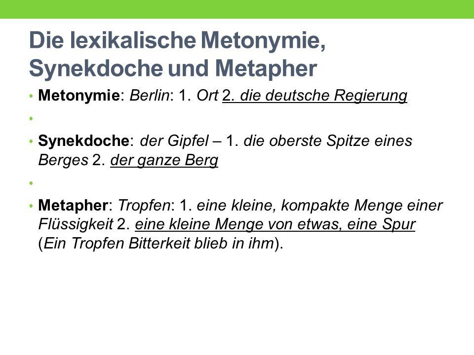 Die lexikalische Metonymie, Synekdoche und Metapher Metonymie: Berlin: 1.