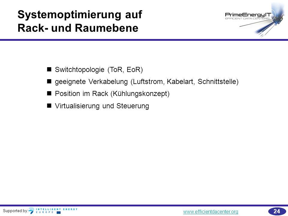 Supported by: www.efficientdacenter.org 24 Systemoptimierung auf Rack- und Raumebene Switchtopologie (ToR, EoR) geeignete Verkabelung (Luftstrom, Kabe