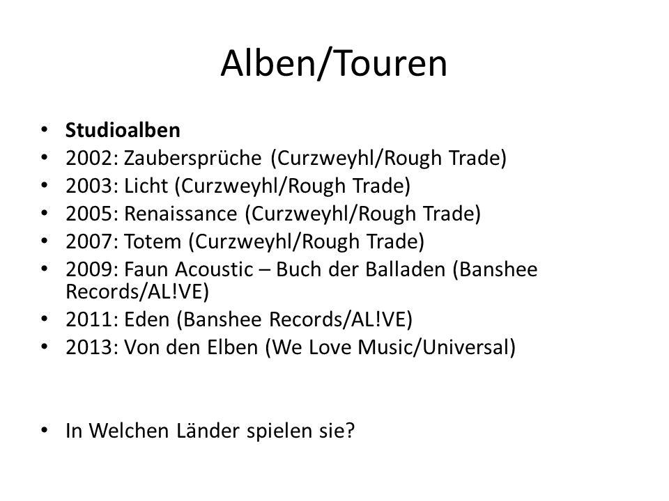 Alben/Touren Studioalben 2002: Zaubersprüche (Curzweyhl/Rough Trade) 2003: Licht (Curzweyhl/Rough Trade) 2005: Renaissance (Curzweyhl/Rough Trade) 200