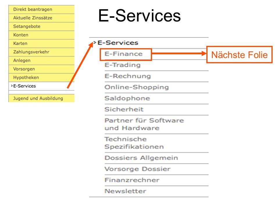 E-Services Nächste Folie