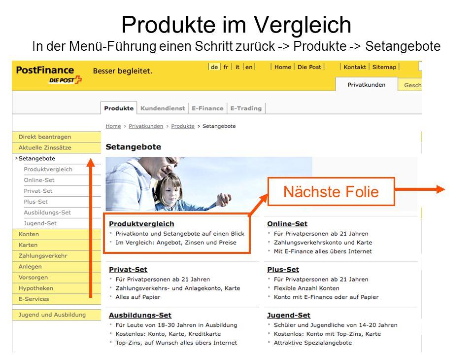 Produkte im Vergleich In der Menü-Führung einen Schritt zurück -> Produkte -> Setangebote Nächste Folie