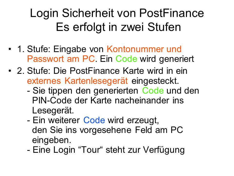 Login Sicherheit von PostFinance Es erfolgt in zwei Stufen 1. Stufe: Eingabe von Kontonummer und Passwort am PC. Ein Code wird generiert 2. Stufe: Die