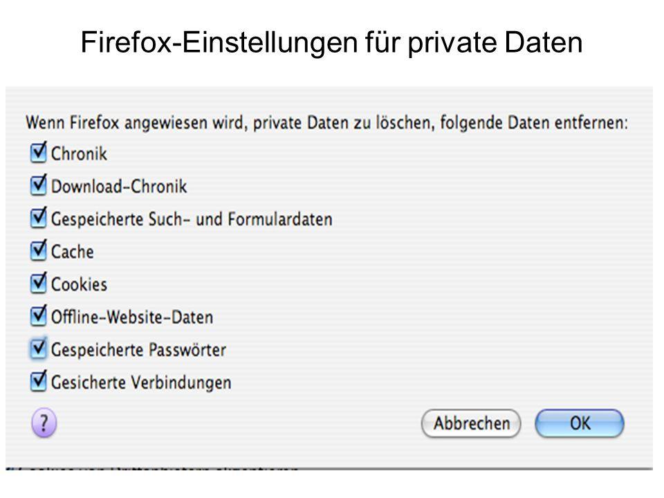 Firefox-Einstellungen für private Daten