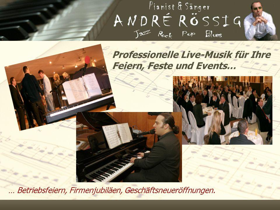 Professionelle Live-Musik für Ihre Feiern, Feste und Events… … Betriebsfeiern, Firmenjubiläen, Geschäftsneueröffnungen.