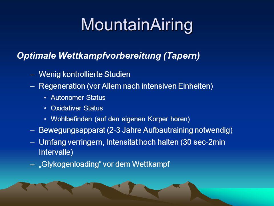 MountainAiring Optimale Wettkampfvorbereitung (Tapern) –Wenig kontrollierte Studien –Regeneration (vor Allem nach intensiven Einheiten) Autonomer Stat