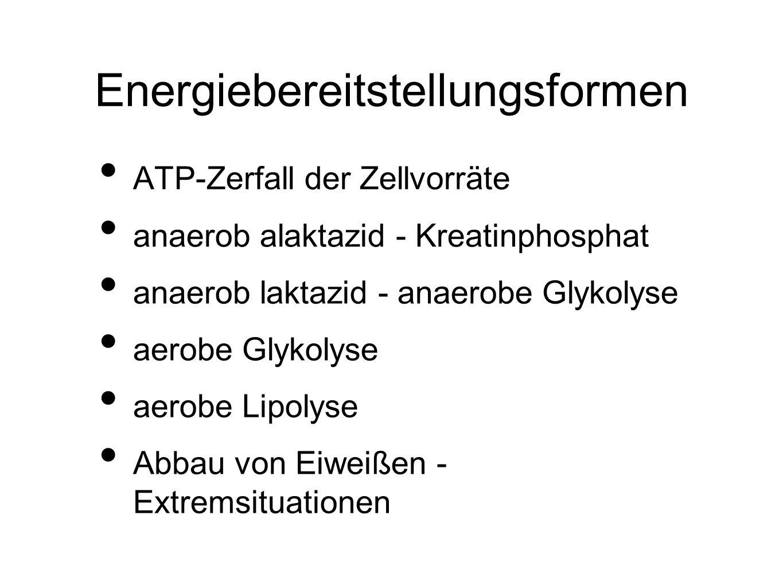 Energiebereitstellungsformen ATP-Zerfall der Zellvorräte anaerob alaktazid - Kreatinphosphat anaerob laktazid - anaerobe Glykolyse aerobe Glykolyse aerobe Lipolyse Abbau von Eiweißen - Extremsituationen