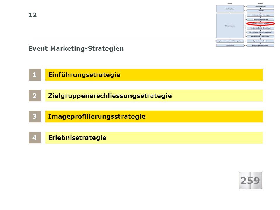 12 S I BS I B S C H W E I Z E R I S C H E S I N S T I T U T F Ü R B E T R I E B S Ö K O N O M I E Event Marketing-Strategien Einführungsstrategie Zielgruppenerschliessungsstrategie 1 1 Imageprofilierungsstrategie 2 2 Erlebnisstrategie 3 3 4 4 259